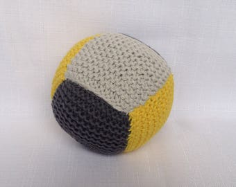 Cotton Baby Ball Rattle - Grey and Yellow