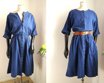 Vintage blue dress Relaxed blue cotton 80s 90s day dress midi length button down short sleeve dress