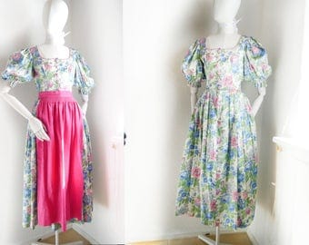 Trachten Dress German Dirndl Dress 2 pc Summer floral country Pink blue white green German country Traditional historic Bavaria fashion