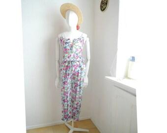 Vintage floral jumpsuit women's romper long pants trousers sleeveless retro summer leisure - small