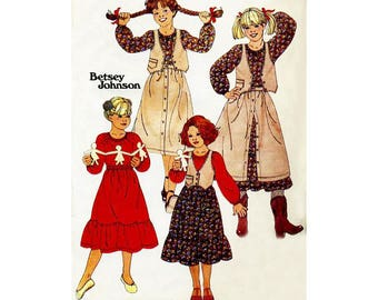 Girls Easy to Sew Western Prairie Skirt and Petticoat with Top and Vest Vintage Betsey Johnson Butterick 6180 Childrens Size 7 B 26