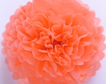 Paper pom pom in Coral -  wedding decorations / party decor/ nursery decor/ bridal baby shower/ tissue paper pompoms / party poms