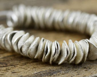 8mm Silver Pringles - Silver Plated Copper - Metal Rustic Round Disks - 4 Inch Strand