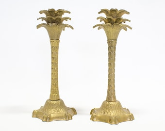 Brass Palm Tree Candlesticks / Candleholders, Hollywood Regency Decor
