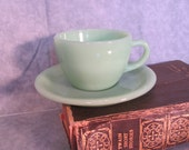 Fire King Jadeite Restaurant Ware Cup and Saucer Very Heavy