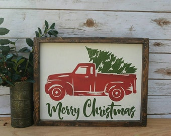 Vintage Red Truck Sign-Christmas Sign-Farmhouse Christmas Sign
