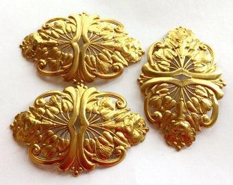 Brass Filigree, 3 Piece, Beading Filigrees, Floral Bracelet Bar, Jewelry Making, Patina Brass, US Made, 60 x 93, B'sue Boutiques, Item02303