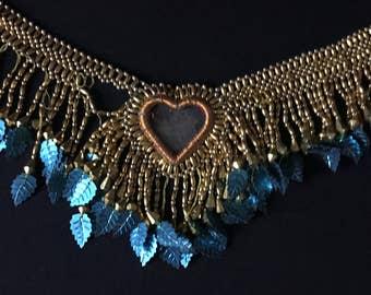 Vintage Afghanistan KUCHI Tribal Beadwork Necklace Headpiece TRIM Cheesy Hearts Costume Supply Belly Dance Uber Kuchi®