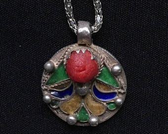 Vintage ALGERIAN Enamel Coin Necklace 1917 French Silver Franc North African Uber Kuchi®