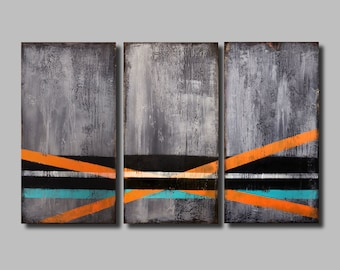 """X-Large Original Abstract Painting Wood Panel, Geometric Painting, Contemporary Wall Art, Distressed Wood, Triptych Painting, 30"""" X 48"""""""