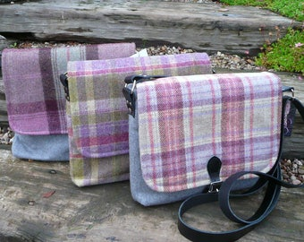 Messenger bag, Satchel bag, Cross body bag, Wool Tweed Bag with real leather strap