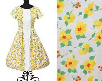 1950s Dress // Spring Yellow Flowers Cotton Day Dress by Kay Windsor