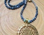 """Sri Yantra necklace with kyanite and angelite  blue yantra necklace 18"""""""