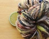 High Terrain - Handspun Wool Yarn Blue Grey Green Bulky Skein