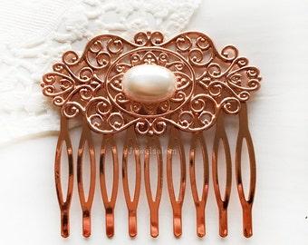 Rose Gold Pearl Hair Comb, Wedding Hair Accessories, Bridal Hair Slide, Bridesmaid Gift, White Pearl, Blush Champagne Peach Wedding