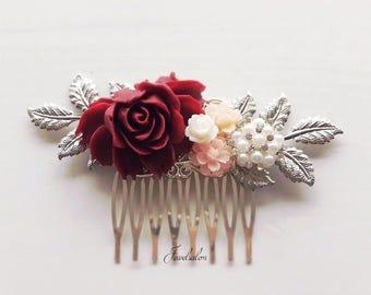 Wedding Hair Comb Blush Pink Maroon Marsala Dark Burgundy Wine Red Flower Headpiece Silver Leaf Bridal Hair Pin Bridesmaid Autumn Hair Slide
