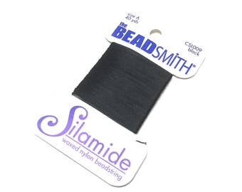BeadSmith Silamide. Waxed Nylon Bead String. Size A. Stringing Supplies. Beadweaving Thread. Beading Thread. 40 yards. One (1).