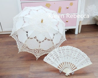 Special Offer Battenburg Lace Vintage Umbrella Parasol with Fan For Bridal Bridesmaid Wedding