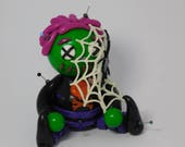 Webby Halloween Voodoo Doll Hand Sculpted Polymer Clay Figurine