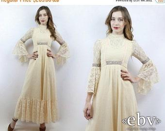 Hippie Wedding Dress Hippie Dress Hippy Dress Boho Dress Hippy Wedding Dress Boho Wedding Dress Vintage 70s Cream Lace Dress XXS