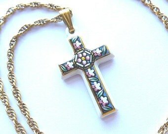 Designer Floral Ceramic Gilded Cross, White Signed Designer Cross, Colorful Cross & Neck Chain, Vintage Cross Necklace, White and Gold Cross
