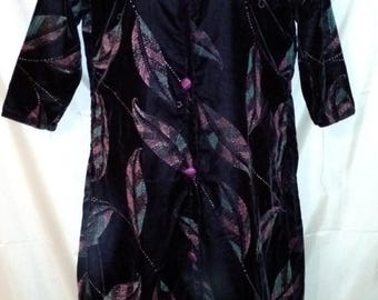 """BIG CLEARANCE SALE 80s Vintage Black Velvet Print-Tunic-Cheong Sam-Qi Pao-Asian Evening Party Holiday-Size 6-Medium-38"""" Bust"""