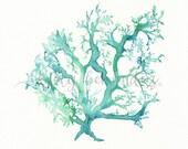 No.1 Sea Coral / watercolor printable / instant download / teal / light green / aqua / sea / ocean life /