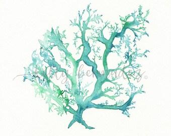 Coral print, Beach Art, Coral watercolor, Coral Art, Coral print, Wall Art, No.1 Sea Coral, watercolor, ocean life