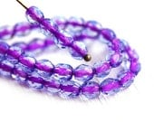 4mm Blue Purple Czech glass beads Violet Purple Lined Lt. Sapphire - fire polished round spacers - 50Pc - 1613