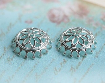 30%OFF SALE Filigree bead caps, Silver, flower ornate, 12mm - 2Pc - F103