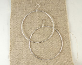 "Rustic Sterling Silver 2.5"" Hoops Earrings - Handmade Textured Large Hoops - Sustainable Silver Made to Order"