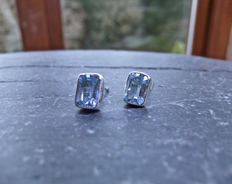 Blue Topaz Faceted Gemstone Silver Stud Earrings