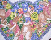 "Vintage Easter Tablecloth, Bunnies, Bows, Flowers, Eggs, Orchid Yellow Pink, 53 1/2"" x 52"""