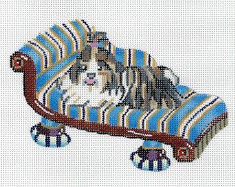 Hand Painted Needlepoint Dog Canvas - Shih Tzu