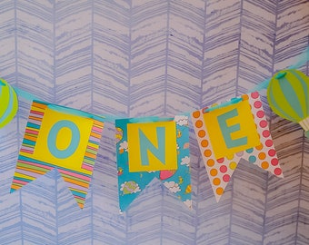 Oh the places you'll go ONE banner - First Birthday Banner - ONE birthday banner - Dr Seuss party decor - High Chair Banner