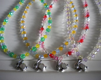 Girls Easter Bunny Necklace Beaded 4 Different Necklaces Spring Colors Red Pink Crystal Green Yellow Purple Blue Peach Silver Bunny