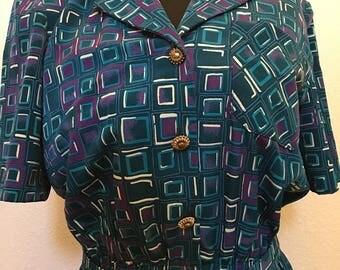 Vintage 80s green, blue, Leslie Fay dress