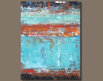 FREE SHIP large abstract painting, color field painting, Rothko inspired, turquoise rust, modern art, minimalist, color block, expressionism