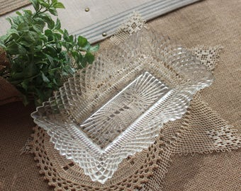 A ruffled glass vintage dish shabby chic dish cottoage chic ring holder candy dish tea partybaby shower bridal shower