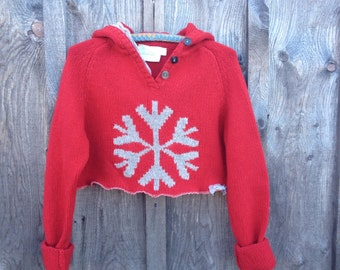 Cropped red sweater, red hooded wool sweater, S-M red sweater, Eco clothing by Shaby Vintage