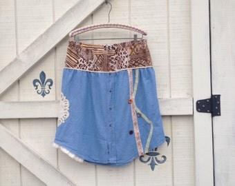 Boho beach skirt, chambray denim rustic Hippie skirt, patchwork, handmade