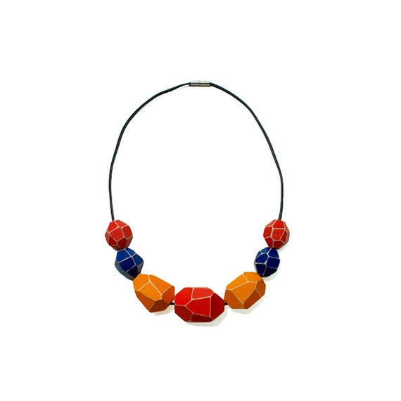 Wooden Gem Beads Necklace - Red