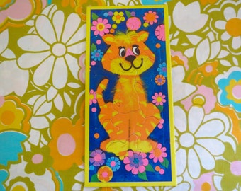 Vintage 1960s Retro Groovy MOD Art Print Puzzle Flower Power Psychedelic Tiger Cat