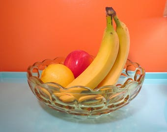 Vintage 1960s Retro Amber Gold Yellow Art Glass Honeycomb Fruit Bowl Dish