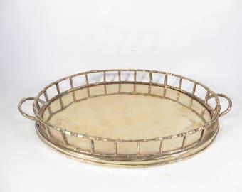 Vintage Brass Bamboo Tray - Mid Century Oval Brass Tray