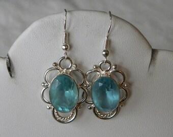 """Blue Topaz Earrings Handmade Earrings Semiprecious Gemstone Earrings 1 1/2"""" Sterling Silver Earrings Take 20% Off Blue Topaz Jewelry Earring"""