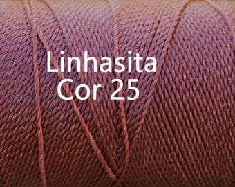 Linhasita Russet Brown Cor 25, Waxed Polyester Cord/ Hilo/ Spool/ String