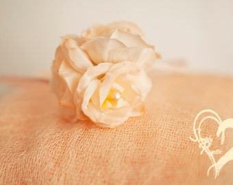 2 item set Sheer Elegance Peach Roses Wrap Set Newborn Swaddle w Beautiful Roses nPearls Headband Cheesecloth Super Sheer Baby 1st Photos