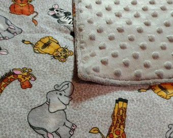 Flannel Safari Animals Grey Minky Toddler Baby Blanket