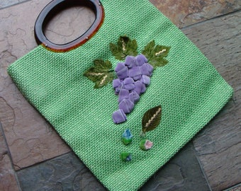 GREEN JUTE bag with GRAPES vintage 1960's 60's